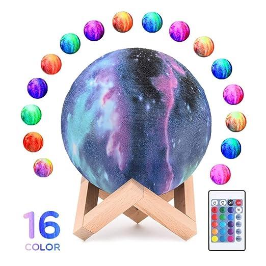 Lámpara LED De Luna Estrellada 16 Colores 15cm Luces De ...