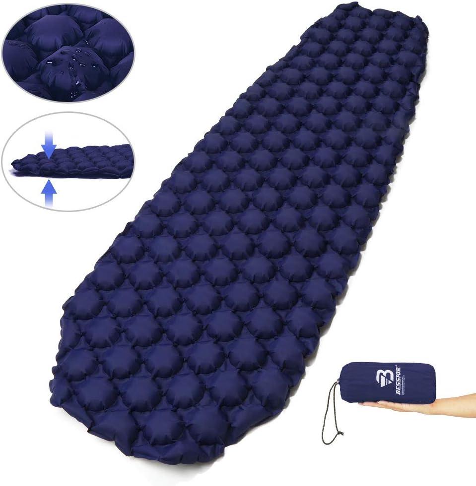 Bessport Sleeping Pad – Ultralight Inflatable Sleeping Mat, Best Self Serving Pad for Camping, Backpacking, Hiking –Carry Bag, Repair Kit – Compact & Lightweight Air Mattress