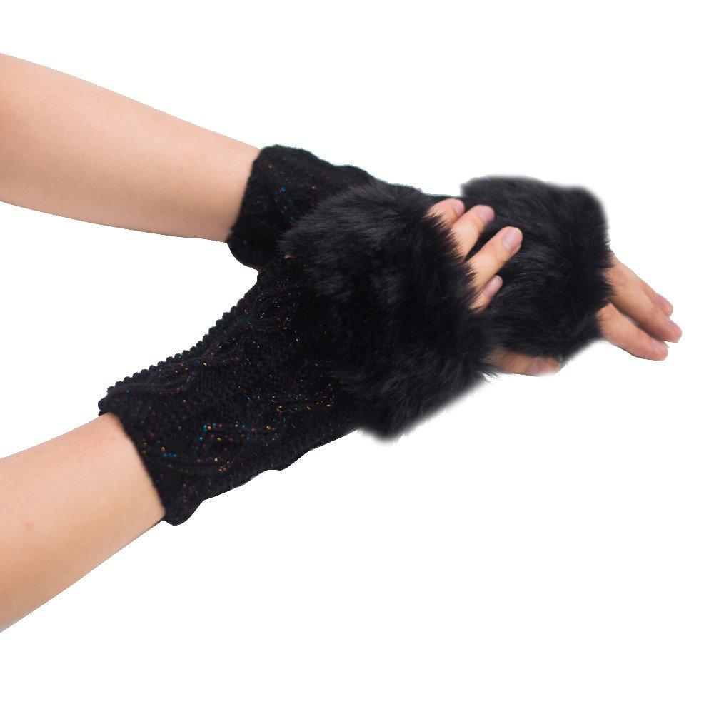 Women Winter Warm Knit Fingerless Gloves Faux Rabbit Fur Hand Crochet Thumbhole Arm Warmers Gloves Mittens
