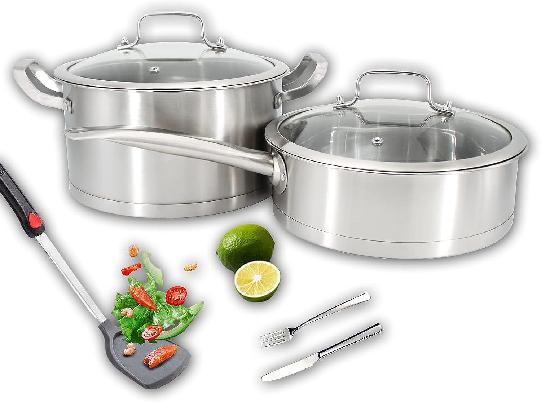 Stainless Steel Pot,Saute Pan/Stock pot,430 Food Grade Tri-Ply Stainless Steel Pan,Soup Pot,See-Through Lid Cooking Pot 2-Piece Cookware Set