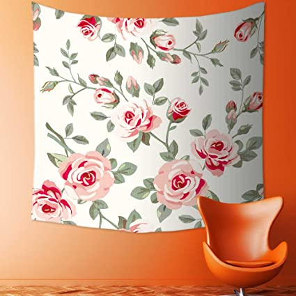 SCOMIMI Custom Tapestry Wall Hanging Tapestries Wallpaper With Roses Of Blanket