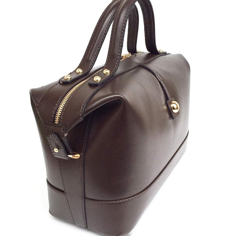 Superflygbagar damväska modell serena (handväska) äkta slätt läder högglänsande handmasserare vintage med inlägg som gör den unik Testa Moro