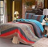 100% Cotton 3-Piece Paisley Boho Quilt Set, Reversible& Decorative - Full/Queen Size by Exclusivo Mezcla