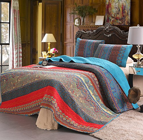 100% Cotton 3-Piece Paisley Boho Quilt Set, Reversible& Decorative - Full/Queen Size by Exclusivo