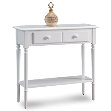 hall stand table. Leick 20027-WT Coastal Narrow Hall Stand/Sofa Table With Shelf, Orchid White Stand