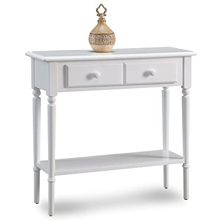 Leick 20027-WT Coastal Narrow Hall Stand Sofa Table with Shelf, Orchid White