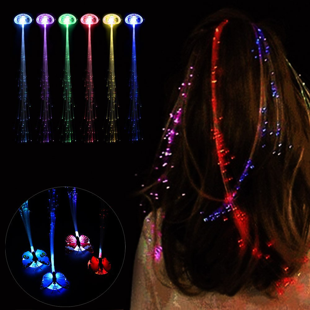 USHOT Dress Up & Pretend Play Toys, LED Wigs Glowing Flash Ligth Hair Braid Clip Hairpin Christmas Birthday Toy
