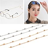 Kalevel Eyeglass Chain Beaded Glasses Sunglasses Chain Eyeglass Chains and Cords For Women Gold
