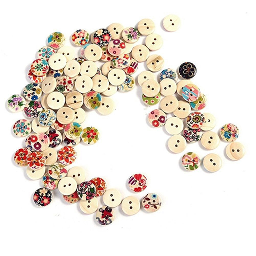 Momongel 100Pcs Mixed Round Wood Wooden 2 Holes Button for Craft DIY Sewing Scrapbooking