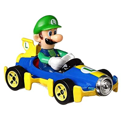 Hot Wheels Luigi Mach 8 Super Mario Kart Character Car Diecast 1:64 Scale: Toys & Games