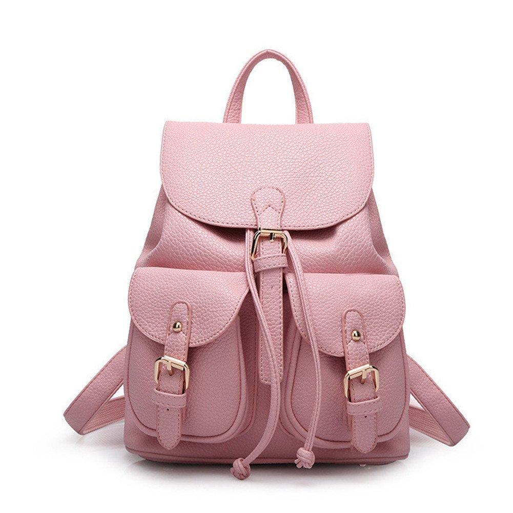 Hynbaseレディースファッションソフトレザーかわいいバックパックキュートスクールバッグショルダーバッグ B01BTVQOGM ピンク
