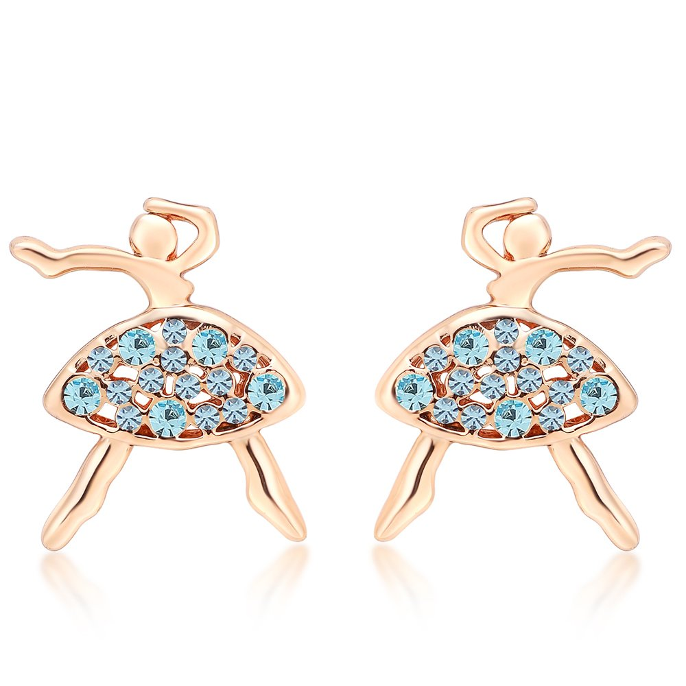 Exquisite Dancing Girl Silver Plated Cubic Zirconia Stud Earrings for Women Birthday Valentines Gift