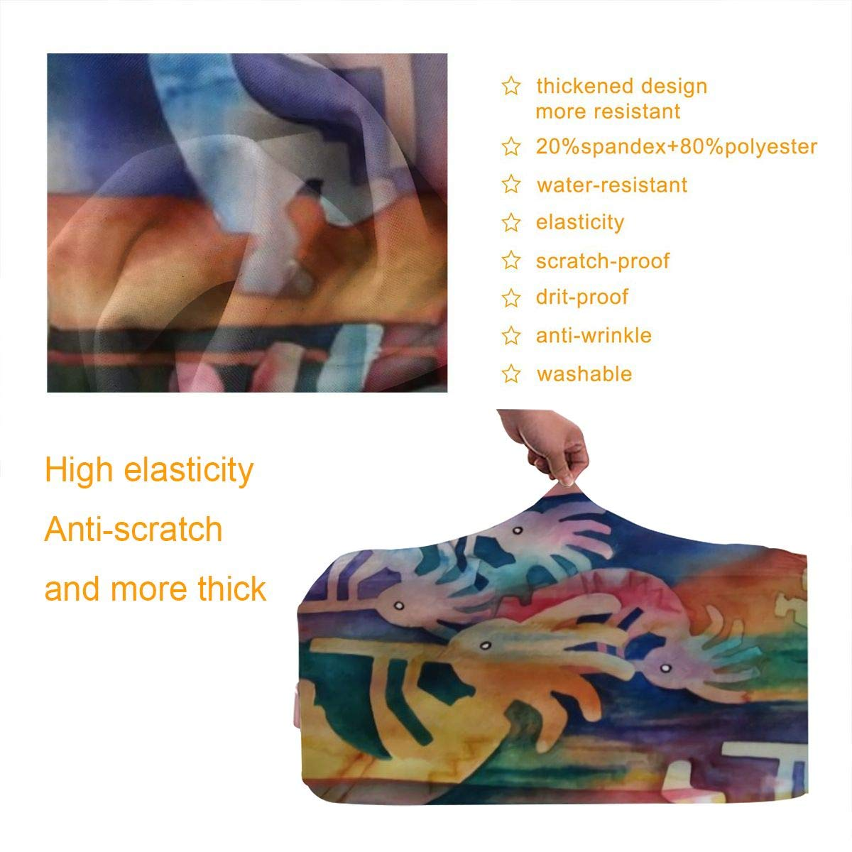 Travel Luggage Cover Spandex Suitcase Protector Bag Washable Zipper Baggage Covers Kokopelli Of Colors Music Agriculture Fits 18 To 32 Inch