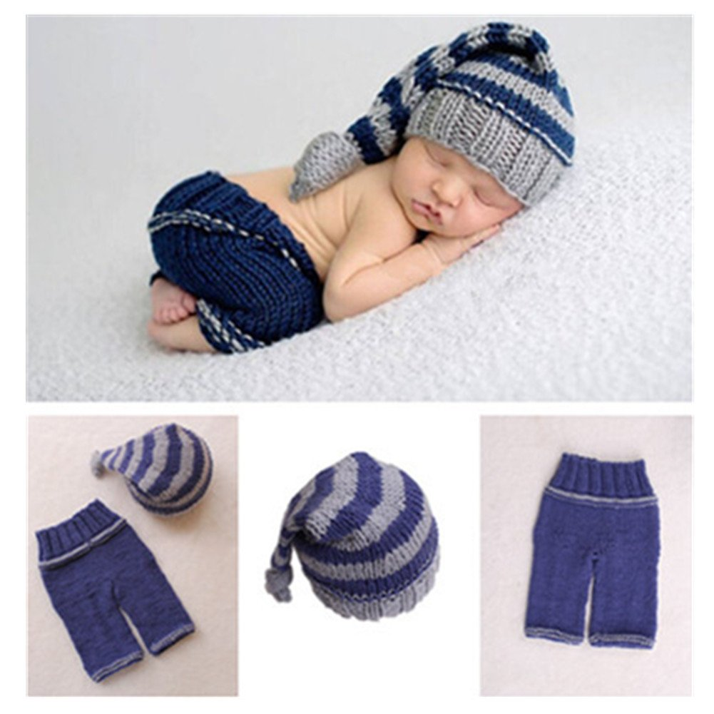 Newborn Baby Photo Shoot Props Girl Boy Crochet Knit Hat Costume Stripe Hat Pants Overalls Photography Props by Vedory