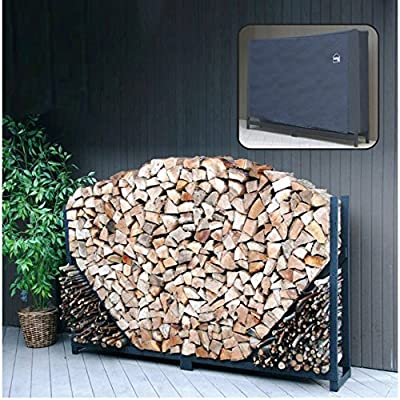 ShelterIt Straight Firewood Log Rack with Kindling Wood Holder and Waterproof Cover, 4', Black