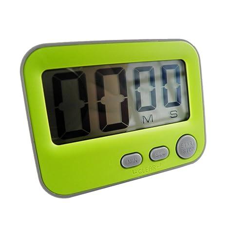 MagiDeal Portátil LCD Temporizador Digital de Cocina Cuenta Regresiva Reloj Alarma Fácil de Leer - Verde
