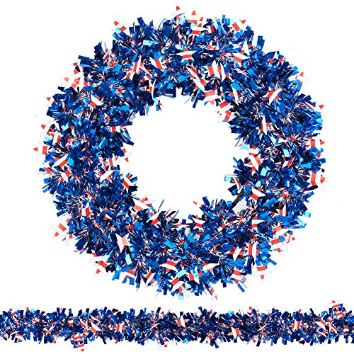 N&T NIETING Patriotic Wreath, 15Inch American Flag Tinsel Wreath with 45ft Tinsel Garland for Independence Day Decorations, Front Door Wreath for Forth of July, Memorial Day Wreath (Stars)