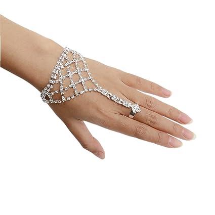 Resultado de imagen de Homiki Juego de joyas de mano para mujer. Vogue cristal novia