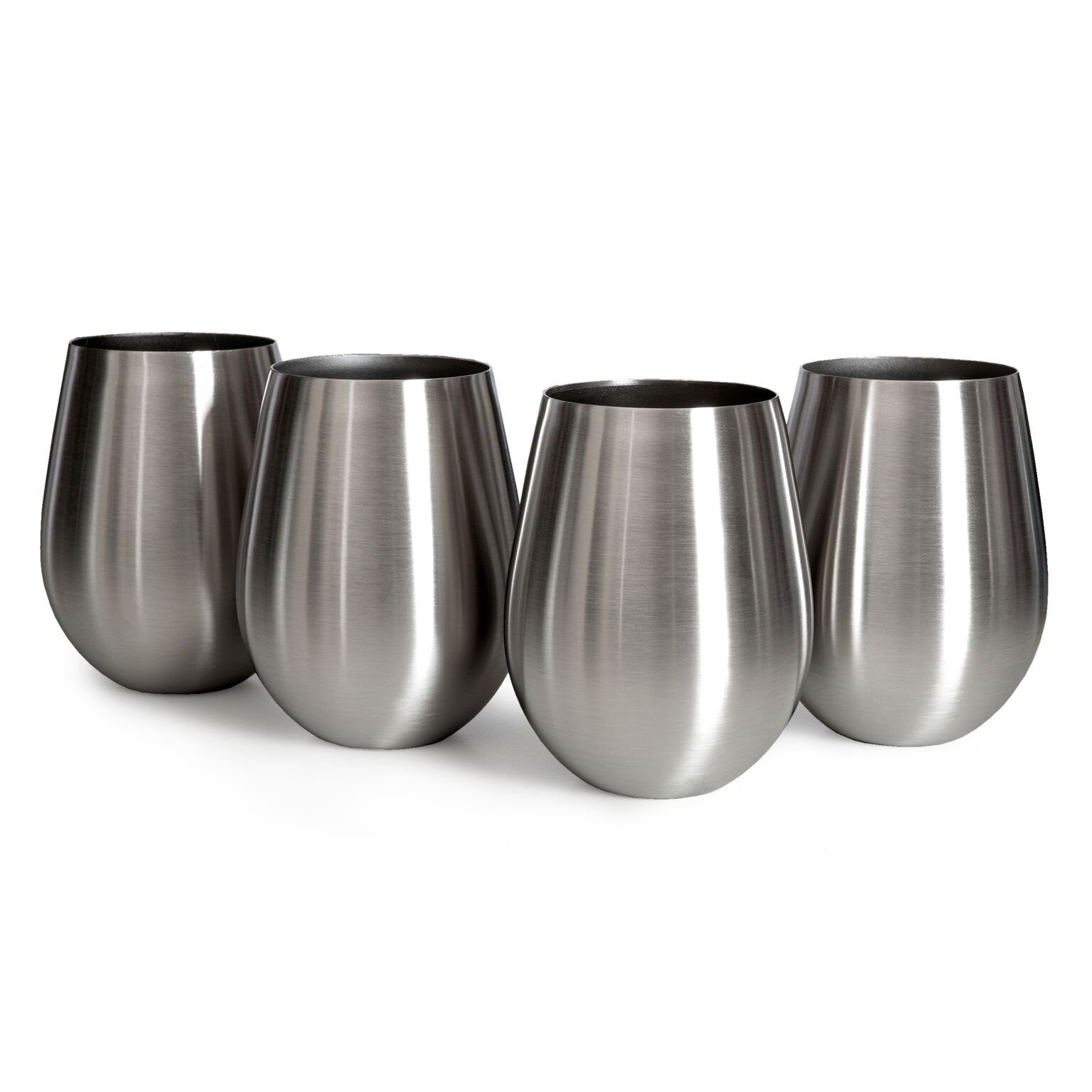 Sips Of Slainte Stemless Stainless Steel Wine Glasses (Original Metallic) by PureRockForm