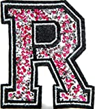 3' (A-Z) Pink Crystal English Letter Character Alphabet Rhinestone Shiny Patch Iron on Embroidered Craft Handmade Baby Kid Girl Women Sexy Lady DIY Accessories Costume (R (2.75'wide x 3'tall))
