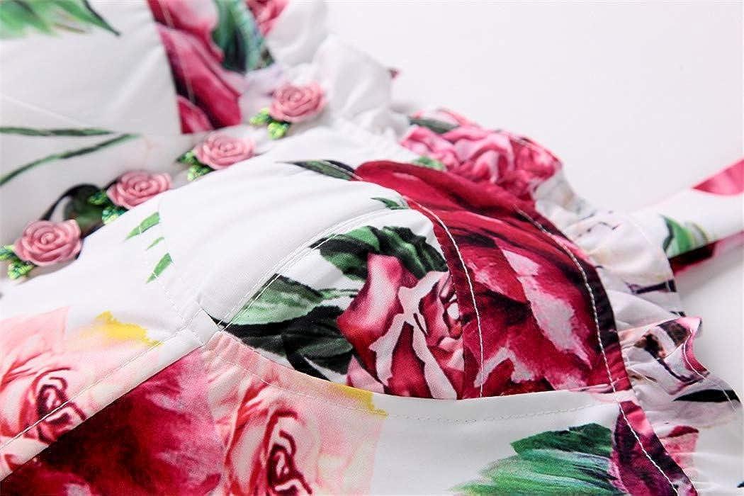 MeQing Summer T-Shirts Women Floral Print Short Tank Tops Casual Vest