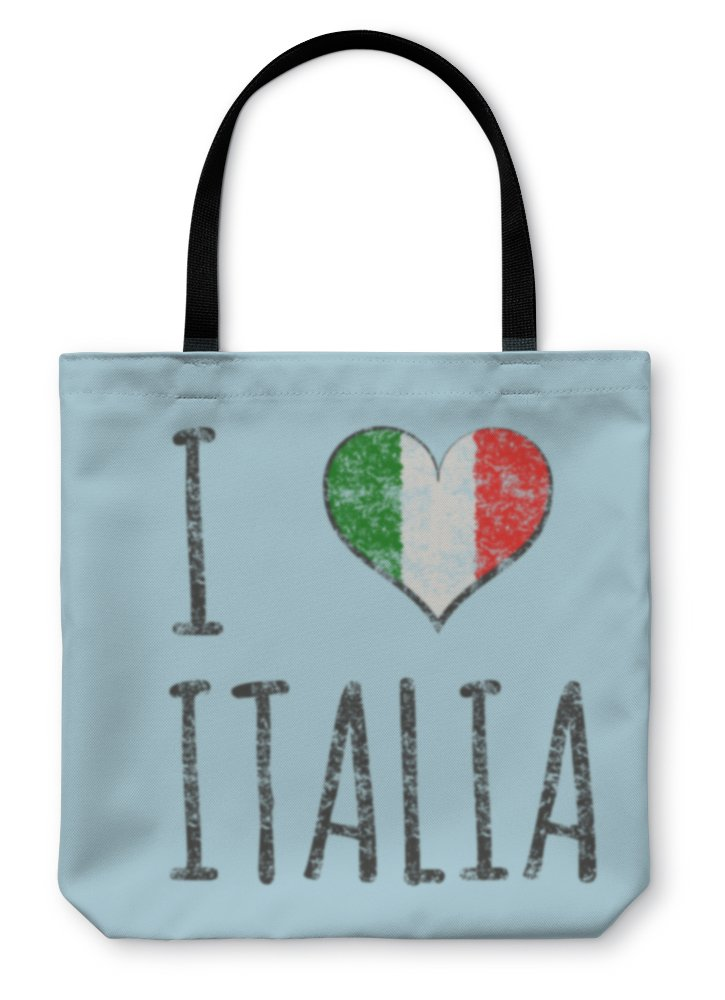 Gear New Shoulder Tote Hand Bag, I Love Italia Typography Tshirt Graphics Illustration, 18x18, 24774GN