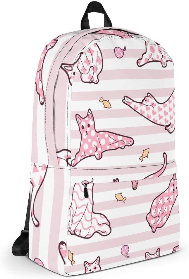 Pink Pinstripe Cat Lover Backpack
