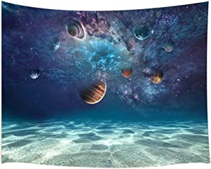 JAWO Space Decor Tapestry Wall Hanging, Creative Ocean Bottom Beach and Cosmic Planet, Polyester Fabric Wall Tapestry for Home Living Room Bedroom Dorm Decor 80W X 60L Inches