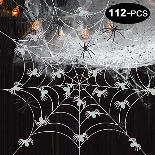 (GeeVen Halloween Spider Webs 50 Luminous Spiders Glow in the Dark Stretch Spider Webs 60 Plastic Spiders for Halloween Decorations)