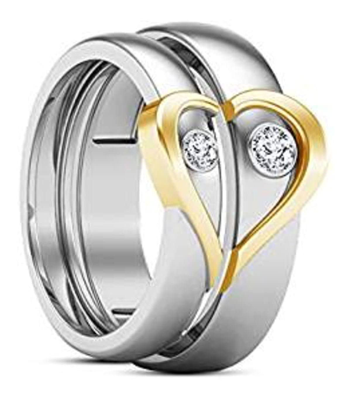 61c5d4f70aba5 Buy ANVI JEWELLERS Stainless Steel Grey Love Couple Ring for Men and ...