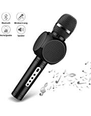 Wireless Bluetooth Karaoke Microphone,YKSINX 4-in-1 Speaker, Recorder,Voice Changer, Karaoke Microphone Wireless Speaker Karaoke Mic for Home KTV/Outdoor Party/Singing/Recording,Compatible with iPhone/Android/iPad (Black)