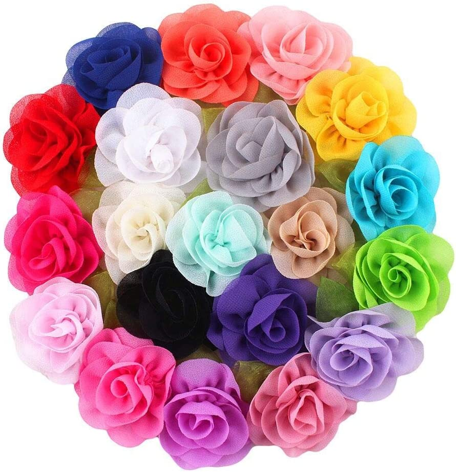2.5 Inch Alligator Hair Clips Chiffon Flower Barrettes Hair Bow Accessories For Toddlers Baby Girl Kids 20PCS