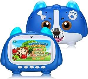 Padgene Tablet para niños, 7 pulgadas, Android 9.0, con modo bloqueo de niños, pantalla táctil IPS, wifi doble cámara, funda de silicona para niños y niñas