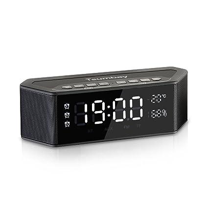 Amazon.com: Tsumbay Alarm Clock Radio with Bluetooth Speakers and ...
