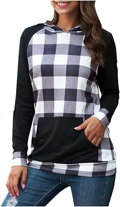 Sinwasd Sudadera a Cuadros con Capucha para Mujer, Camisa a Cuadros, Camisa de Manga Larga, suéter Delgado: Amazon.es: Ropa y accesorios