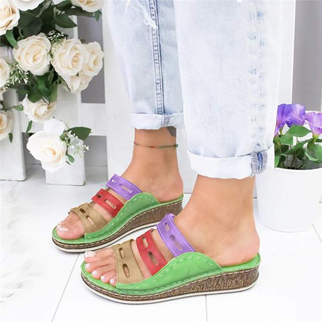 Vowes Womens Wedge Sandals Peep Toe Slippers Comfortable Platform Beach Shoes Summer Slip On Breathable Flat Water Shoes with Three Arch Support