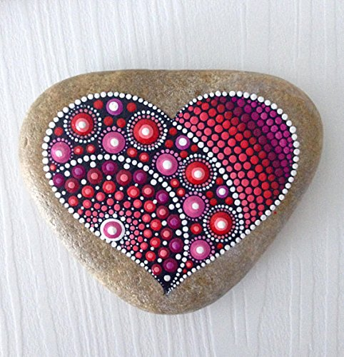heart dot art mandala painted rock christmas heart gift mandala painted pebble fairy