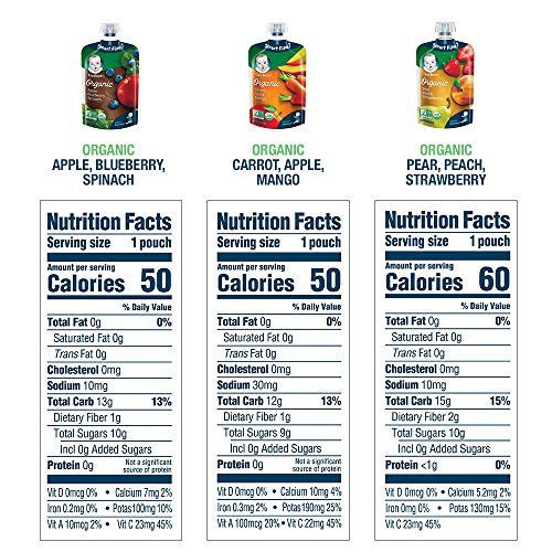 61sYwQ%2BNZQL - Gerber Organic 2nd Foods, Fruit & Veggie Variety Pack Pureed Baby Food, 3.5 Ounce Pouch, 18 Count (Packaging May Vary)