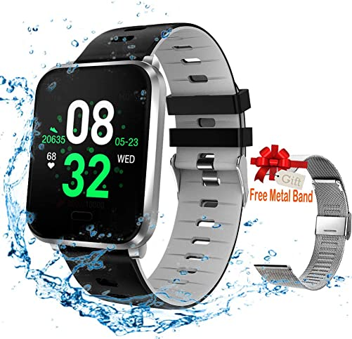 Smart Watch, Fitness Tracker Compatible for Android iOS with Heart Rate Blood Pressure Sleep Monitor. Waterproof Activity Tracker with Step Calorie Counter Info Reminder for Men Women