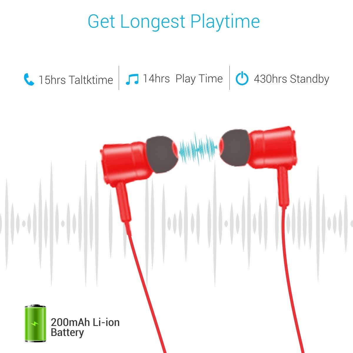 Portronics Harmonics 208 POR-933 Bluetooth Stereo Wireless Headset (Red)
