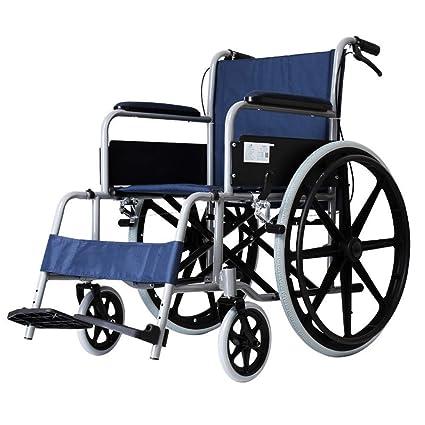 SXRNN Transporte de sillas de Ruedas de Acero de Aluminio Ligero Ruedas con Frenos y Pedales