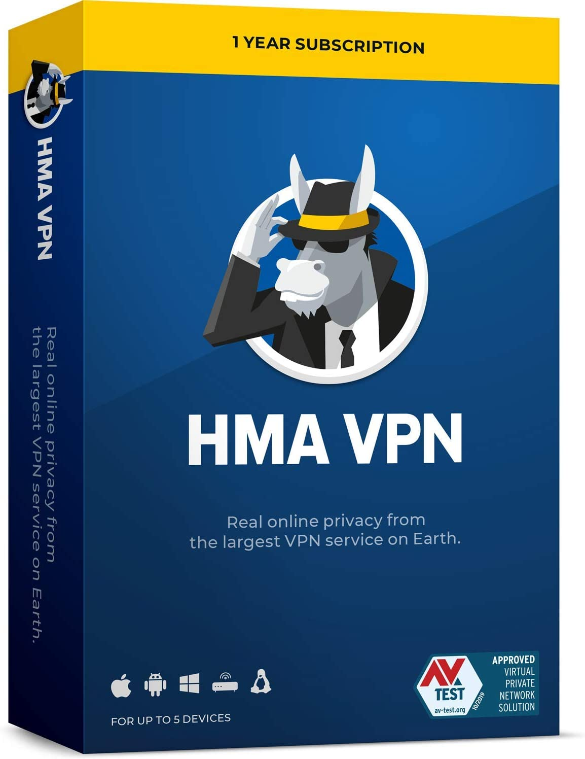 HMA VPN | Privacy Protection Service | Win, Mac, iOS, Android, Linux, Routers | 5 Devices, 1 Year [Key Card]