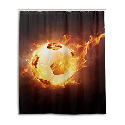 Amazon DNOVING Shower Curtain Fire Football Ball Sport