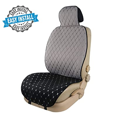 CAR PASS Homein Two Tone Sideless Universal Fit Car Seat Cover, One Set Package, Black with Gray: Automotive