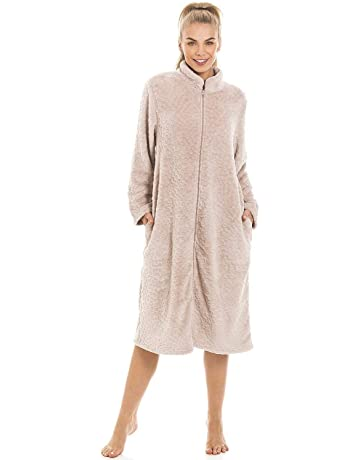 Camille rosa Botón delantero largo Camisón de lana