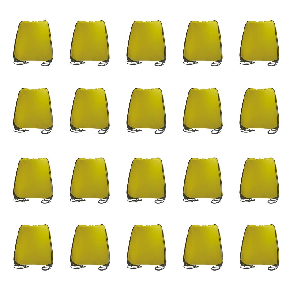 IMI bag 20PCS Folding Ripstop Fabric Drawstring Backpacks for Gym Traveling Partys Promotional Sport Home Storage.NO Logo School Kids Bags (Yellow)