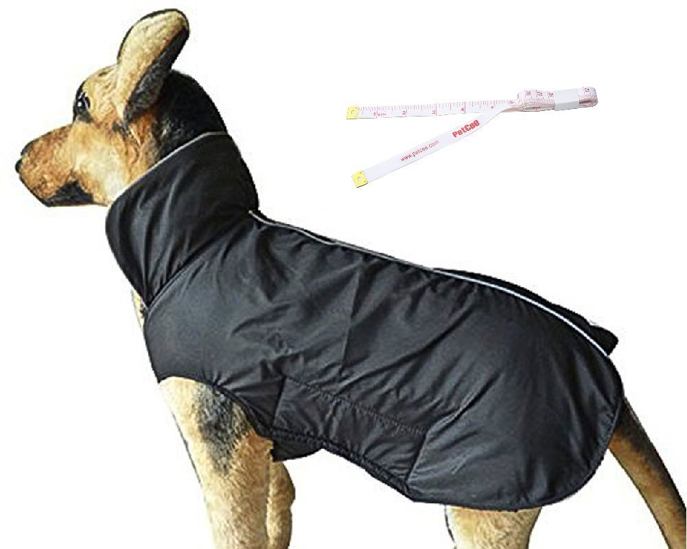 Black L Black L PetCee Dog Jacket Waterproof 100% Polyester- Fleece Lined Jacket Reflective Loft Dog Coat Climate Changer Fleece Jacket (Black L)