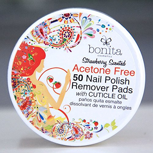 Acetone Free 50 Nail Polish Remover Pads with Cuticle Oil, Strawberry Scented, Bonita Cosmetics (Makeup Remover Strawberry)