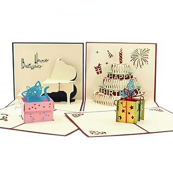 Amazon Dwarm Birthday Pop Up Cards 4 Pcs Handmade Birthday