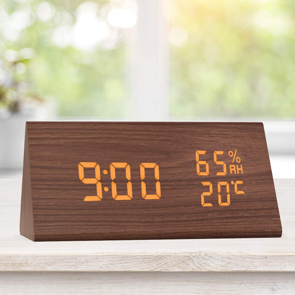 Wooden Alarm Clock, Digital Clock with Large LED Time Display, Humidity & Temperature Detect, 3 Alarm Settings, Sound Control Beside Clock for Bedroom, Kichen, Office ( Brown )